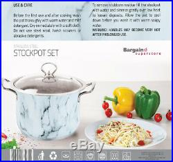 Non Stick Deep Stockpot Cooking Pot Pan 3pc 4pc Casserole Set Stainless Steel