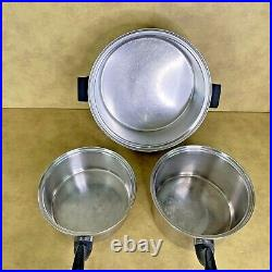 PERMANENT Cookware Waterless 7 Pc Set 5-Ply Multi-Core Stainless USA with Lids