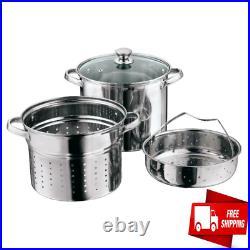Pasta Cooker Steam Pot Stainless Steel Steamer 8 Qt Multi Cooker Spaghetti 4 Pcs