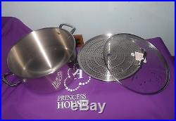 Princess House Heritage Stainless Steel 15-Qt. Stockpot with Steaming Rack NIB