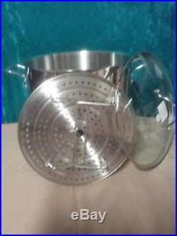 Princess House Stainless Steel 25-Qt. Stockpot With Steaming Rack 6713 NEW