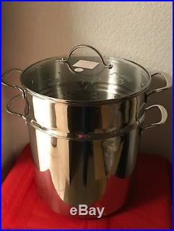 Princess House Stainless Steel Classic 20-Qt. Stockpot with Steaming Basket 5814