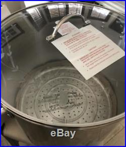 Princess House Stainless Steel Classic 60-Qt Stockpot, pot W Steaming Rack #5802