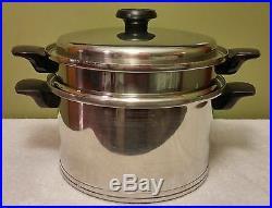 RARE Lifetime Stainless 8Qt Dutch Oven, Stock Pot, Steamer/Colander, Lid T304CC