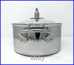 RUFFONI 6 Qt Omegna Prima Hammered Stainless Steel Stock Pot with Pineapple Lid