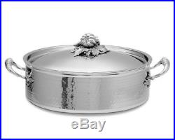 RUFFONI Hammered Stainless Steel 7 qt Braiser With Leaf/Vegetable Handle/LidNEW