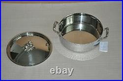 RUFFONI Opus Prima Hammered Stainless Steel Braiser with Olive Knob 6-Qt NEW