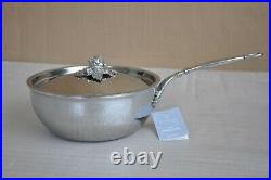 RUFFONI Opus Prima Hammered Stainless Steel Chef Pan with Artichoke Knob 4-Qt