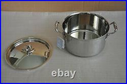 RUFFONI Opus Prima Hammered Stainless Steel Stock Pot with Olive Knob 8-Qt NEW