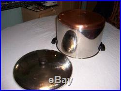 Revere Ware 16 Qt STOCK POT Pan w LID HUGE Copper Clad Bottom Stainless Vtg USA