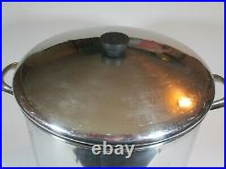 Revere Ware 1801 20qt Stock Pot with Lid Stainless Steel Copper Clad