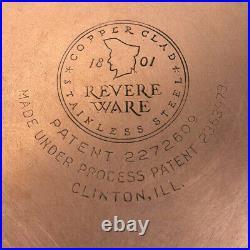 Revere Ware 1801 Stainless Steel Copper Bottom Cookware 10 Pc Set Pots & Pan VTG