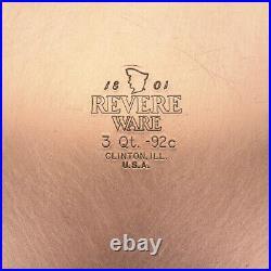 Revere Ware 1801 Stainless Steel Copper Bottom Cookware 11 Pc Set Pots & Pan VTG