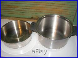 SALADMASTER T304S 6 Quart Stainless Steel Stock Pot & 4 qt w dome lids