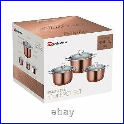 SQ Professional Stainless Steel Stockpot Cookware Casserole Set