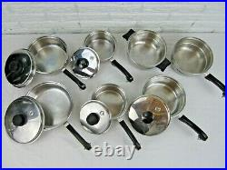 Salad Master 18-8 Tri-Clad Stainless Steel 12 Pc Cookware Pans T304S Lids USA