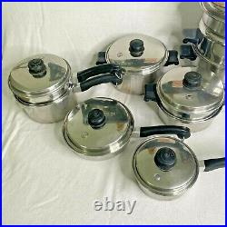 Saladmaster 18-8 Tri Clad Stainless Waterless Stockpot Poacher Pan 24 Pc set USA
