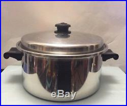 Saladmaster 6 qt Stock Pot with Vented Lid. 18-8 Tri-Clad Stainless Steel