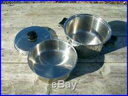 Saladmaster Stainless Steel 18-8 Tri-Clad 3 Quart Stock Pot withVapo & Insert CL4