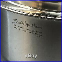 Saladmaster Titanium Stainless 7 Quart Stock Pot & Vapo Lid Cookware USA 316ti