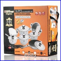 Set 16 cookware Stainless Steel Gas Induction saucepan stockpot Fry Pan Lid
