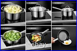 Stainless Cooking SET 3quart sauce pan Fry Essentials 6 Quart Stock Pot With Lid