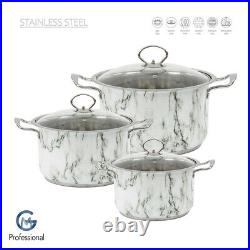 Stainless Steel Casserole Induction Base Deep Stockpot Set Cooking Pot With Lid