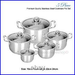 Stainless Steel Cookware 5pc Hob Stockpot Pot Casserole Set With Glass Lids