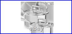 Stainless Steel Cookware Set Lids Kitchen Silver Skillets Saucepans Stockpot Pan