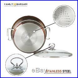 Stainless Steel Gem Metallic Cookware Stockpot Casserole Set Glass Lids Copper