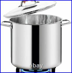 Stainless Steel Stock Pot with Lid Kitchen Cookware Soup Pan Large 16 Quart