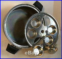 Stock Pot Dutch Oven Pan Egg Poacher Large Dome Lid Vintage Stainless Steel