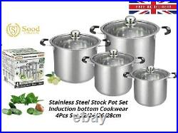 Supreme Stainless Steel Stock pot Set With Glass Lids Kitchen Cookware 4pc