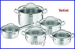 Tefal Cookware Uno Set 10 Pcs Saucepan, Stewpots, Stockpot, Glass Lids Pots