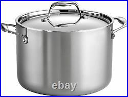 Tramontina Gourmet 8 Qt Tri-Ply Clad Stainless Steel Covered Stock Pot NEW