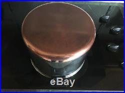 VTG 10 Quart Revere Ware Stainless Steel/Copper Bottom Stock Pot withLid Rome NY