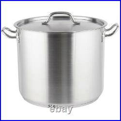 Vigor Heavy-Duty Stainless Steel Aluminum-Clad Stock Pot with Cover, 8 To 100 qt
