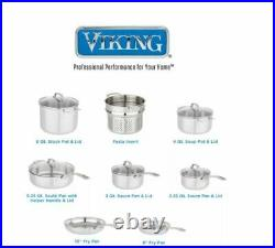 Viking 13 piece Tri-Ply Stainless Steel Cookware Set Glass Lids Mirror Finish