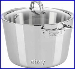 Viking Contemporary 3-Ply Stainless Steel 8 Qt 7.5 L Stock Pot with Lid NEW