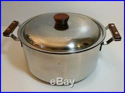 Vintage Cuisinarts 5 qt Pot Stainless Steel Clad Wood Teak Handle Made in France