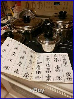 Vintage KITCHEN QUEEN Stainless Steel Cookware 9 PC Stock Pots Lids CookBook
