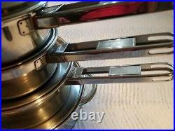 Vtg. Tramontina Brazil Inox Early Model Stainless Steel 8 Piece Pans/Pots
