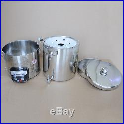 WO 220V Stainless Steel Homebrew Stockpot Boil Kettle Mash Tun Beer Wine Brewing