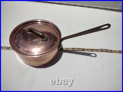 Williams Sonoma France Copper stainless sauce pan 7 1/2 x 4 Vintage chef 2qrt