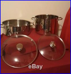 Wolfgang Puck Bistro Set of 2 Stock Pot 18/10 Stainless 7 QT & 8 QT Glass Lid